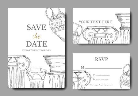 Vector Antique greek amphoras and columns. Black and white engraved ink art. Wedding background card decorative border. Thank you, rsvp, invitation elegant card illustration graphic set banner.