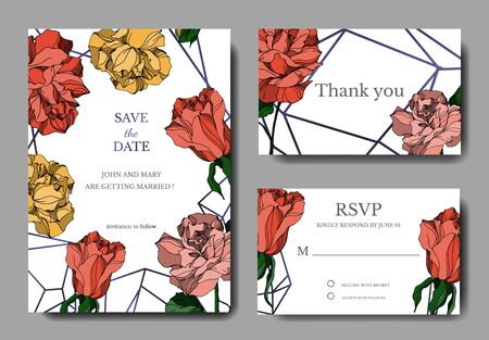 Vector Roses floral botanical flowers. Black and white engraved ink art. Wedding background card decorative border. Thank you, rsvp, invitation elegant card illustration graphic set banner.