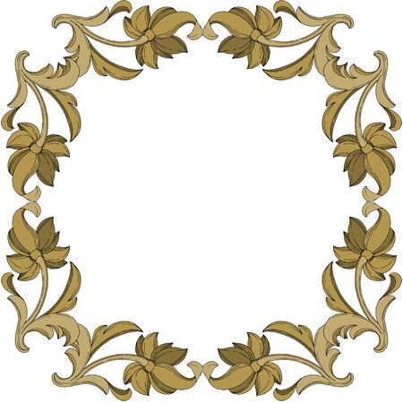 Vector Golden monogram floral ornament. Baroque design elements. Black and white engraved ink art. Frame border ornament square on white background. 일러스트