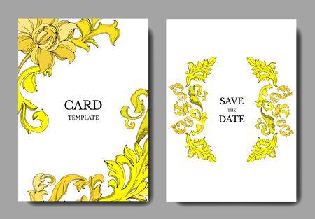 Vector Golden monogram floral ornament. Black and white engraved ink art. Wedding background card floral decorative border. Thank you, rsvp, invitation elegant card illustration graphic set banner.