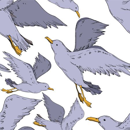 Vector Sky bird seagull isolated. Wild freedom, bird with a flying wings. Black and white engraved ink art. Seamless background pattern. Fabric wallpaper print texture.