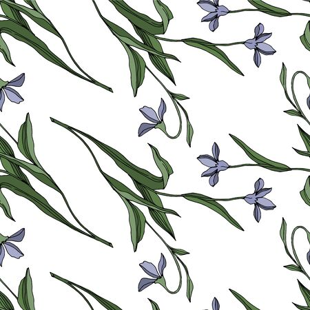 Vector Wildflower floral botanical flowers. Wild spring leaf wildflower isolated. Black and white engraved ink art. Seamless background pattern. Fabric wallpaper print texture.