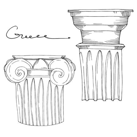 Vector Antique greek columns. Black and white engraved ink art. Isolated ancient illustration element on white background.