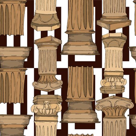 Vector Antique greek columns. Black and white engraved ink art. Seamless background pattern. Fabric wallpaper print texture on white background.