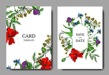 Vektor Wildflowers botanische Blumen mit Blumen. Schwarz-weiß gravierte Tinte Art.-Nr. Dekorative Grenze der Hochzeitshintergrundkarte. Danke, Rsvp, Einladung elegante Kartenillustrations-Grafiksatzfahne.