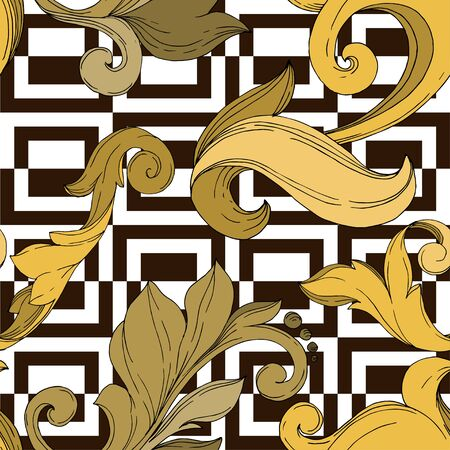 Vector Golden monogram floral ornament. Baroque design elements. Black and white engraved ink art. Seamless background pattern. Fabric wallpaper print texture. Иллюстрация