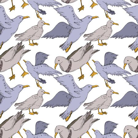 Vector Sky bird seagull isolated. Wild freedom, bird with a flying wings. Black and white engraved ink art. Seamless background pattern. Fabric wallpaper print texture. Standard-Bild - 130143628