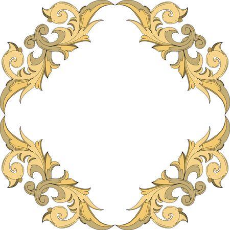 Vector Golden monogram floral ornament. Baroque design elements. Black and white engraved ink art. Frame border ornament square on white background. Illusztráció