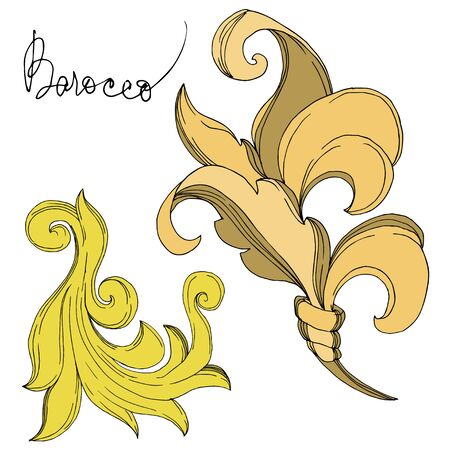 Vector Golden monogram floral ornament. Baroque design elements. Black and white engraved ink art. Isolated ornament illustration element on white background. Illusztráció