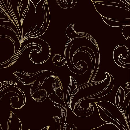 Vector Golden monogram floral ornament. Baroque design elements. Black and white engraved ink art. Seamless background pattern. Fabric wallpaper print texture. 일러스트