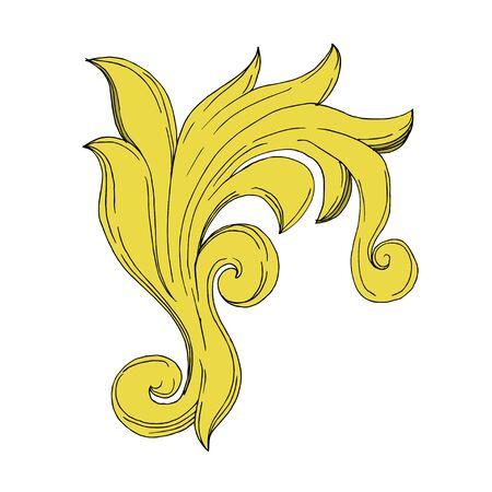 Vector Golden monogram floral ornament. Baroque design elements. Black and white engraved ink art. Isolated ornament illustration element on white background. Illustration