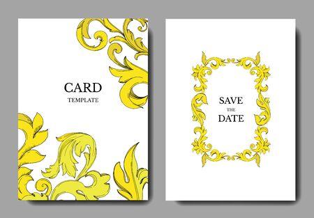 Vector Golden monogram floral ornament. Black and white engraved ink art. Wedding background card decorative border. Thank you, rsvp, invitation elegant card illustration graphic set banner.