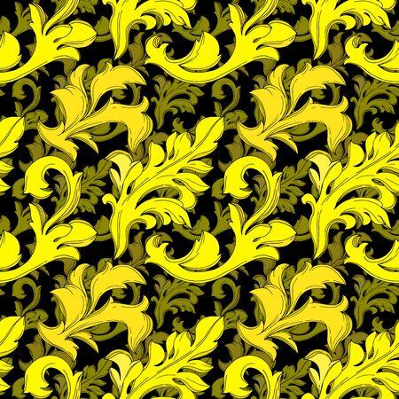 Vector Golden monogram floral ornament. Baroque design isolated elements. Black and white engraved ink art. Seamless background pattern. Fabric wallpaper print texture. Illusztráció