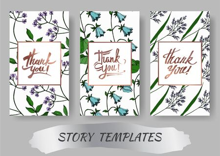 Vector Wildflowers floral botanical flowers. Black and white engraved ink art. Wedding background card decorative border. Thank you, rsvp, invitation elegant card illustration graphic set banner. Ilustração