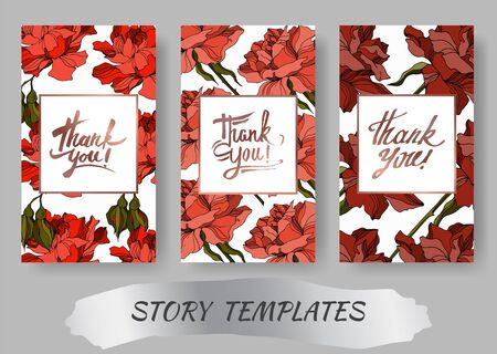Vector Rose floral botanical flowers. Black and white engraved ink art. Wedding background card decorative border. Thank you, rsvp, invitation elegant card illustration graphic set banner. Ilustração