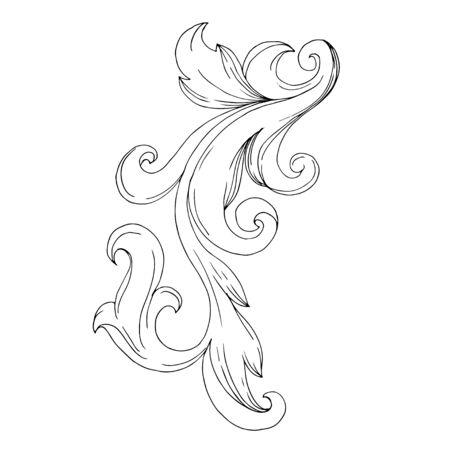 Vector Baroque Monogram floral ornament. Vintage design elements. Black and white engraved ink art. Isolated ornament illustration element on white background. Иллюстрация