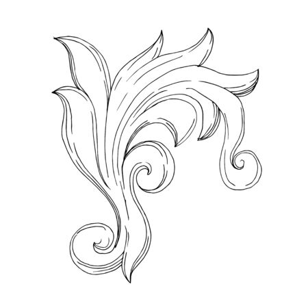 Vector Baroque Monogram floral ornament. Vintage design elements. Black and white engraved ink art. Isolated ornament illustration element on white background. Иллюстрация