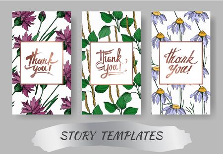 Vector wildflowers floral botanical flowers. Black and white engraved ink art. Wedding background card decorative border. Thank you, rsvp, invitation elegant card illustration graphic set banner.