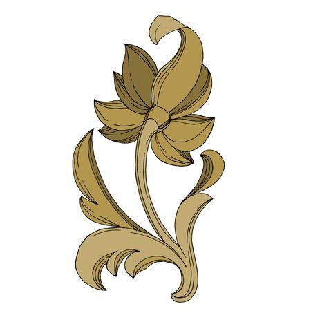 Vector Golden monogram floral ornament. Baroque design elements. Isolated ornament illustration element on white background. Black and white engraved ink art.