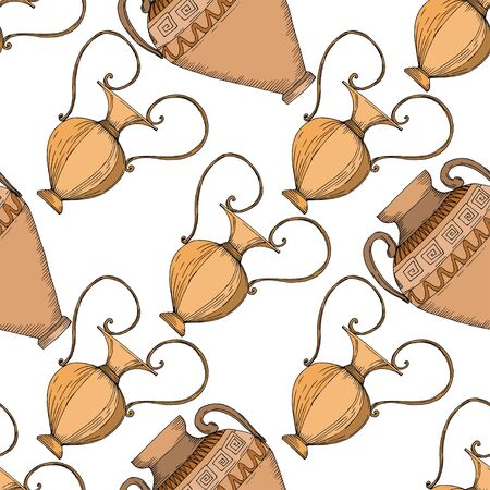 Vector Antique greek amphoras. Black and white engraved ink art. Seamless background pattern. Fabric wallpaper print texture on white background.