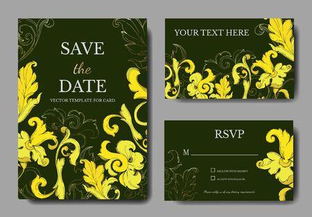 Vector Gold monogram floral ornament. Black and white engraved ink art. Wedding background card decorative border. Thank you, rsvp, invitation elegant card illustration graphic set banner.