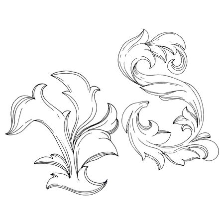 Vector Golden monogram floral ornament. Baroque design isolated elements. Black and white engraved ink art. Isolated monograms illustration element.