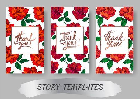 Vector Rose floral botanical flowers. Red and green engraved ink art. Wedding background card floral decorative border. Thank you, rsvp, invitation elegant card illustration graphic set banner.