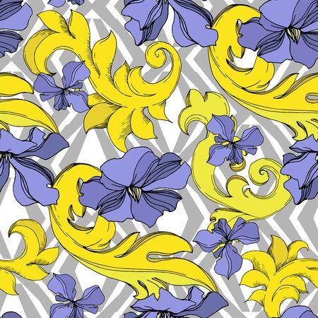 Ornamento floreale del monogramma dorato di vettore. Elementi di design barocco. Inchiostro inciso in bianco e nero art. Motivo di sfondo senza soluzione di continuità. Trama di stampa carta da parati in tessuto.