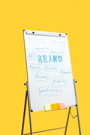 white office board with sticky notes and words isolated on yellow Foto de archivo