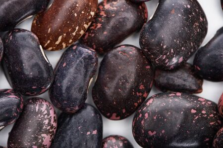 close up view of uncooked organic big black beans 写真素材