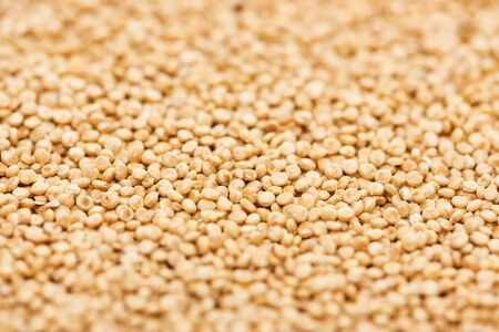 close up view of organic raw white quinoa