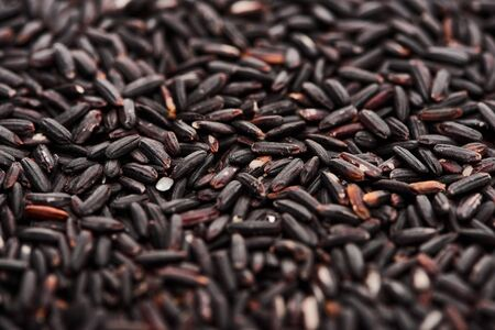 close up view of uncooked organic black rice Stock Photo - 130310010