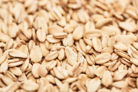 close up view of uncooked pressed organic oats