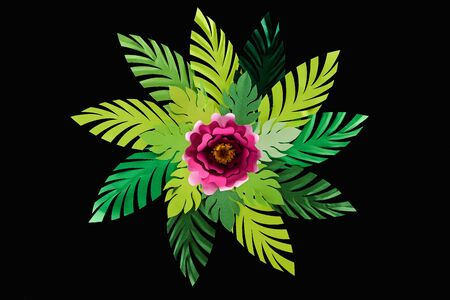 top view of paper cut green leaves with crimson flower isolated on black, background pattern