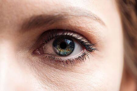 Nahaufnahme des grünen Auges der jungen Frau mit Wimpern und Augenbrauen, das in die Kamera schaut
