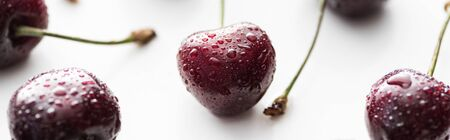 panoramic shot of fresh, sweet, red and ripe cherries with droplets Stok Fotoğraf