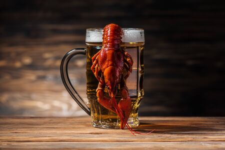 glass with beer and red lobster on wooden surface