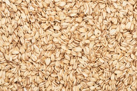 top view of raw pressed organic oats