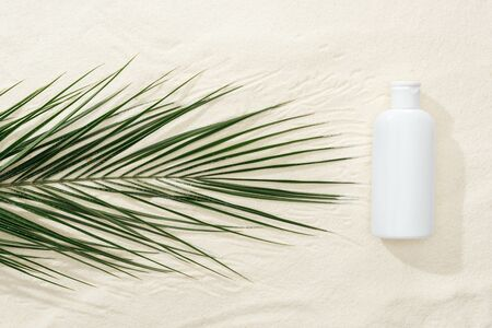 white sunscreen lotion near green tropical leaf on sand