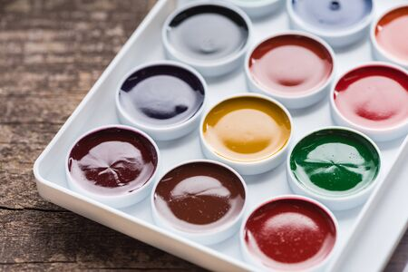 close up view of watercolor new colorful paint palette
