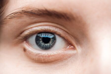 close up view of young woman blue eye with eyelashes and eyebrow