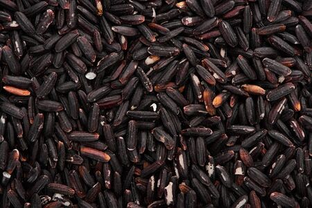 top view of uncooked organic black rice Stock Photo