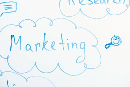 close up view of word marketing written on white flipchart