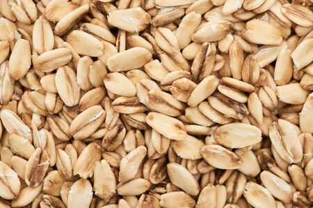 top view of unprocessed pressed organic oats Stock Photo - 130302543