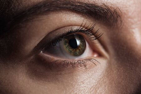 close up view of young woman green eye looking away