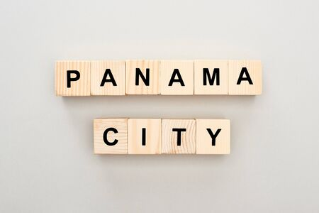 top view of wooden blocks with Panama City lettering on white background