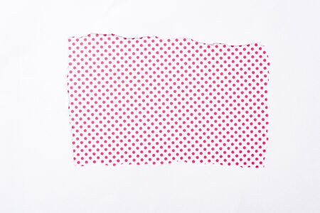 polka dot pink and white colorful background in white torn paper hole Banque d'images - 130441094
