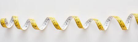 panoramic shot of colorful measuring tape on white background Stock fotó