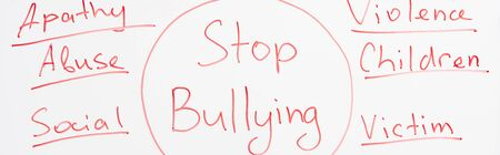 panoramic shot of red stop bullying lettering written on white flip chart Stock Photo