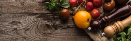 panoramic shot of tomatoes and spinach near pepper mill and salt mill on piece of fabric on wooden surface